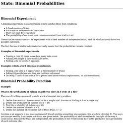 Stats: Binomial Probabilities