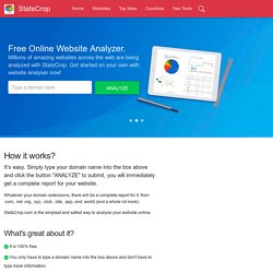 StatsCrop - Free website analyzer! Website Analysis, Keyword Ranking Analysis, Alexa Traffic Analysis.