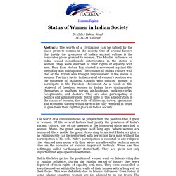 20th WCP: Status of Women in Indian Society