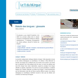 Statuts des langues : glossaire