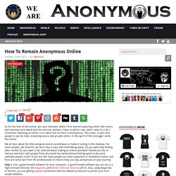 How To Stay Anonymous Online AnonHQ