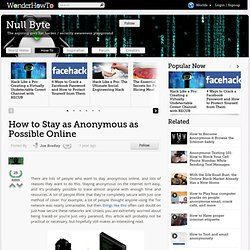 How to Stay as Anonymous as Possible Online