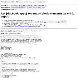 Bob Stayton - Re: [docbook-apps] too many block-elements in xsl-fo ouput