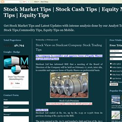 Stock View on Steelcast Company: Stock Trading Tips