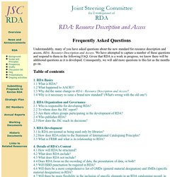 RDA: preguntas frecuentes - JSC [Inglés]