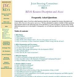RDA: preguntas frecuentes [Inglés] - JSC