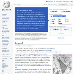 Stem cell - Wikipedia