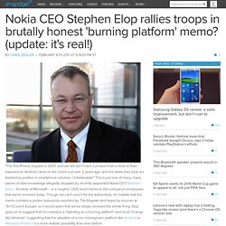 Nokia CEO Stephen Elop rallies troops in brutally honest 'burning platform' memo? (update: it's real!)
