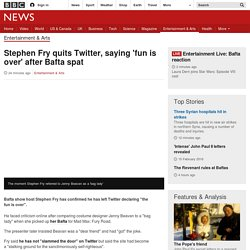 Stephen Fry quits Twitter, saying 'fun is over' after Bafta spat
