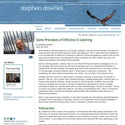 Some Principles of Effective E-Learning