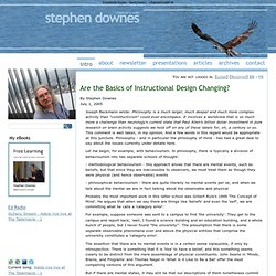 Are the Basics of Instructional Design Changing? ~ Stephen's Web ~ by Stephen Downes