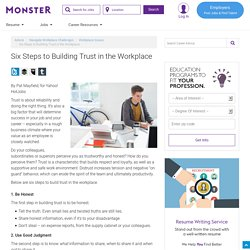 Six Steps to Building Trust in the Workplace