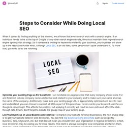 Steps to Consider While Doing Local SEO