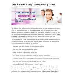 Easy Steps for Fixing Yahoo Browsing Issues