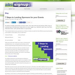 7 Steps to Landing Sponsors for your Events