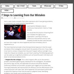 » 7 Steps to Learning from Our Mistakes