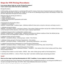 Steps for MM Pricing Procedures