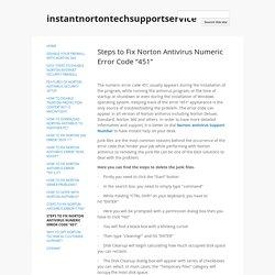 "Steps to Fix Norton Antivirus Numeric Error Code ""451"" - instantnortontechsupportservice"