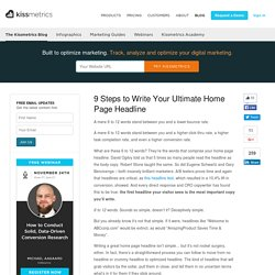 9 Steps to Write Your Ultimate Home Page Headline