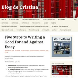 Five Steps to Writing a Good For and Against Essay