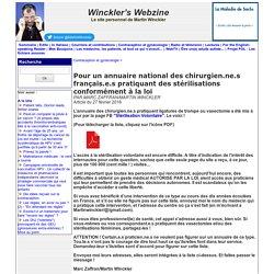Pour un annuaire national des praticien.ne.s français.es pratiquant des stérilisations conformément à la loi