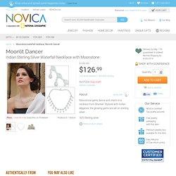 Moonstone waterfall necklace - Moonlit Dancer - NOVICA