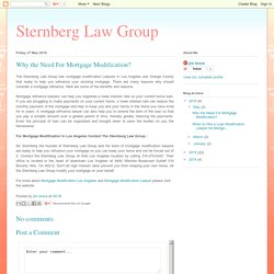 Sternberg Law Group: Why the Need For Mortgage Modification?