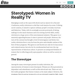 Sterotyped: Women in Reality TV
