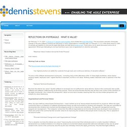 Dennis Stevens » Blog Archive » Reflections on #10yrsagile – What is Value?