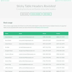 Sticky Table Headers Revisited