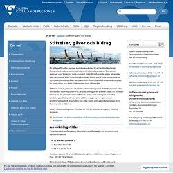 Stiftelser, gåvor och bidrag - Västra Götalandsregionen