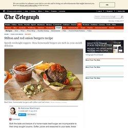 Stilton and red onion burgers recipe