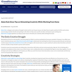 Adam Katz Gives Tips on Stimulating Creativity While Working From Home
