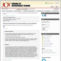 Electrical Stimulation for Fracture Healing: Current Evidenc... : Journal of Orthopaedic Trauma