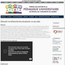 Stimuler la réflexivité des étudiants: ce qui aide