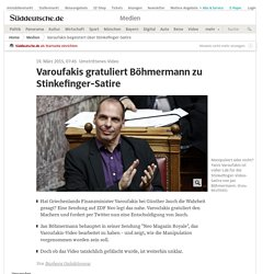 Varoufakis begeistert über Stinkefinger-Satire - Medien