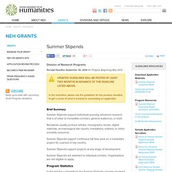 Summer Stipends | National Endowment for the Humanities