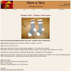 Have a Yarn - Stitch of the Month - Children's Work Socks - October 2010