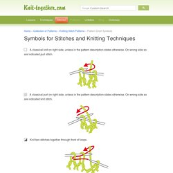 Symbols for Stitches and Knitting Techniques