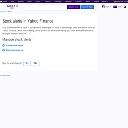 Stock alerts in Yahoo Finance