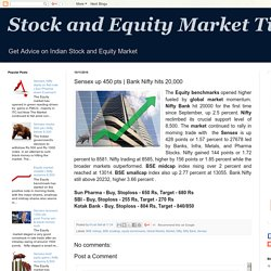 Stock and Equity Market Tips: Sensex up 450 pts