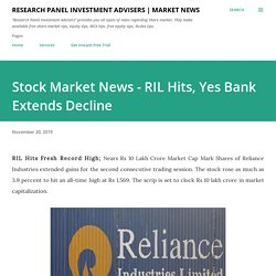 Stock Market News - RIL Hits, Yes Bank Extends Decline