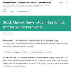 Stock Market News - Adani Gas Jumps, Infosys Worst Performer