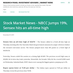 Stock Market News - NBCC Jumps 19%, Sensex hits an all-time high
