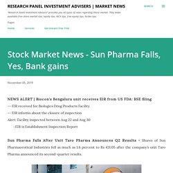 Stock Market News - Sun Pharma Falls, Yes, Bank gains