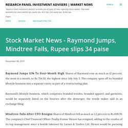 Stock Market News - Raymond Jumps, Mindtree Falls, Rupee slips 34 paise
