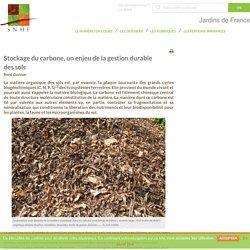 Stockage du carbone, un enjeu de la gestion durable des sols