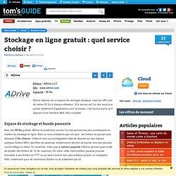 ADrive - Stockage en ligne gratuit : quel service choisir ?