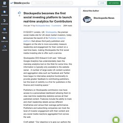 Stockopedia Becomes The First Social Investing Platform To Launch Real-time Analytics For Contributors | Stockopedia News