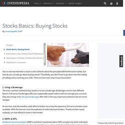 Stocks Basics: Buying Stocks